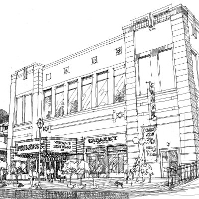 357-001 - Princess Theater Drawing 1-10x6.7 Square
